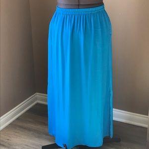 NWT LOFT Maxi Skirt Deep Slit Blue M